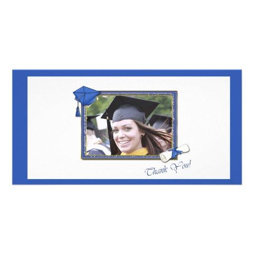 Graduation Thank You Blue Photo Card Template