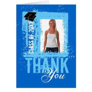 Graduation Thank You Card Add Photo Blue