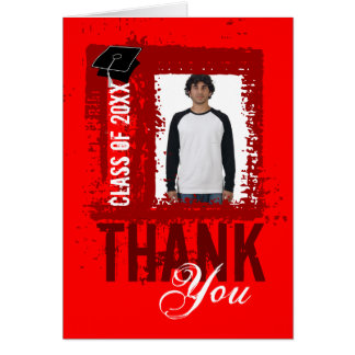 Graduation Thank You Card Add Photo Red