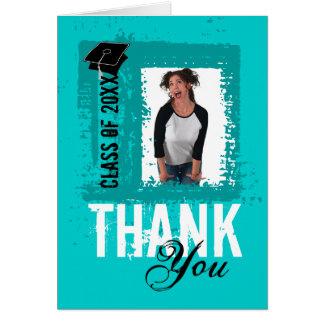 Graduation Thank You Card Add Photo Teal