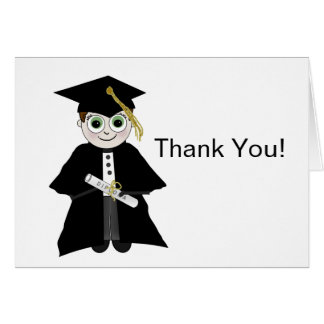 GRADUATION THANK YOU CARD - CAP AND GOWN - GUY