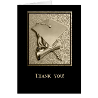 Graduation Thank you Card, Gold and Black