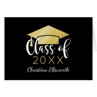 Graduation Thank You Cards | Gold Grad Cap