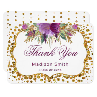 Graduation Thank You Floral Gold Glitter Confetti Card