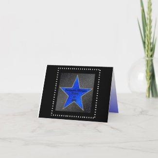 Graduation Thank You Hollywood Star Blue card