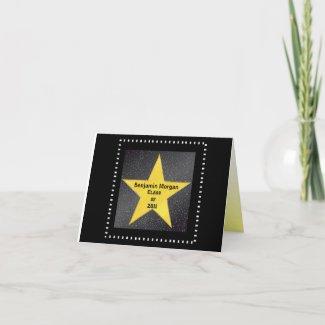 Graduation Thank You Hollywood Star Yellow card