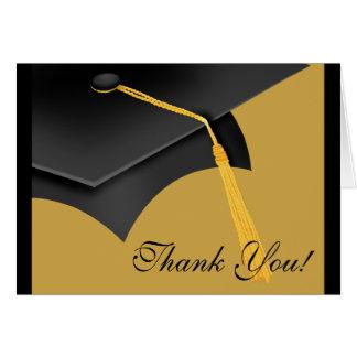 Graduation Thank You Note Card Black Gold Grad Cap