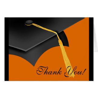Graduation Thank You Note Card Black Orange Cap