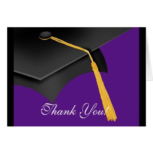 Graduation Thank You Note Card Black Purple  Cap