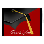 Graduation Thank You Note Card Black Red Grad Cap