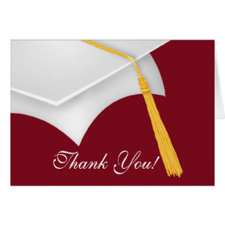 Graduation Thank You Note Card White Maroon Cap