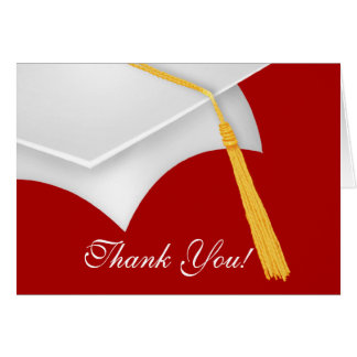 Graduation Thank You Note Card white Red Grad Cap