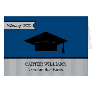Graduation Thank You Note Cards   Navy Blue Gray