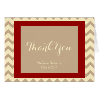 Graduation Thank You Notes; Cream, Crimson & Taupe Greeting Card