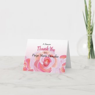 Graduation Thank You, Peach and Pink Rose Card
