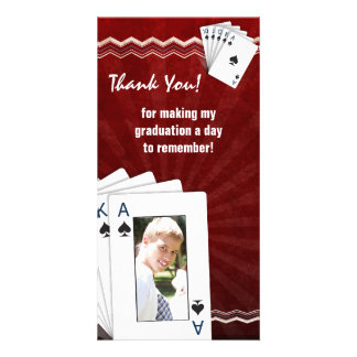 Graduation Thank You Photo Card Poker Spades Red