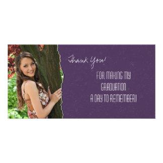 Graduation Thank You Photo Card Purple Torn Paper