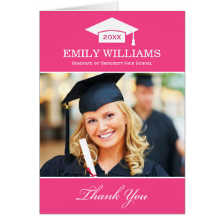Graduation Thank You Photo Cards | Bright Pink