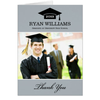 Graduation Thank You Photo Cards   Gray and Black
