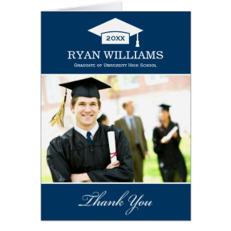 Graduation Thank You Photo Cards   Navy Blue White