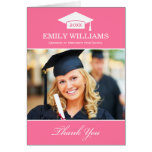 Graduation Thank You Photo Cards | Pink and White