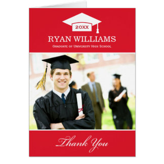 Graduation Thank You Photo Cards   Red and White