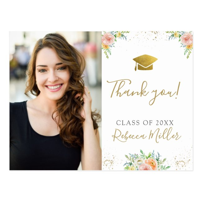 Graduation Thank you Photo Postcard floral  gold