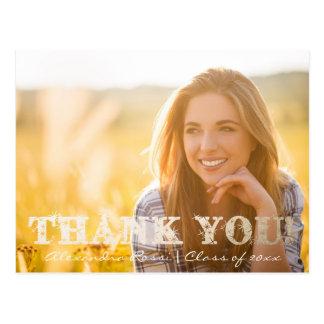 Graduation Thank You Postcard | Gold