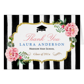 Graduation Thank You Watercolor Floral Stripes Card