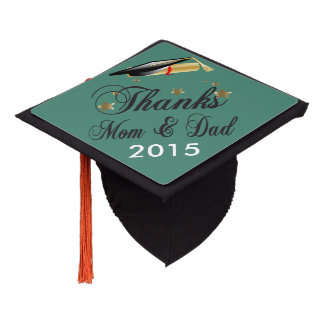 Graduation | Thanks Mom and Dad | DIY Color Graduation Cap Topper