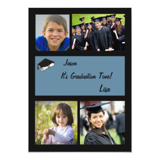 Graduation Time - 4 Photo Graduation  Invitation