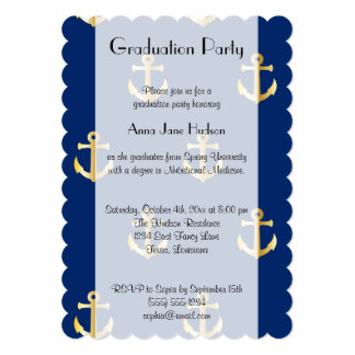 Graduation - Trendy Nautical Anchor - Blue Gold 5x7 Paper Invitation Card