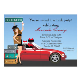 Graduation Trunk Party Brunette College Going Away Card