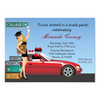 Graduation Trunk Party College Going Away Blonde Card