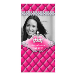 Graduation Tufted Satin Crown Sweet 16 Pink 2 Card