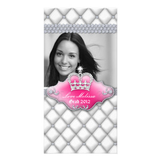 Graduation Tufted Satin Crown Sweet 16 White Card