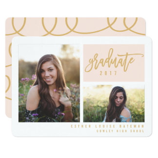 GRADUATION TWIN PHOTO-BLUSH AND GOLD CARD