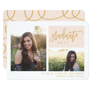GRADUATION TWIN PHOTO-BLUSH AND GOLD(CLIPPED PHOTO CARD