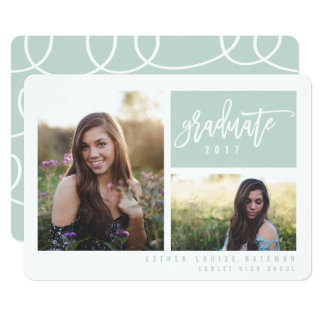 GRADUATION TWIN PHOTO-MINT(CLIPPED IMAGE) CARD