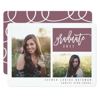 GRADUATION TWIN PHOTO-PLUM CARD