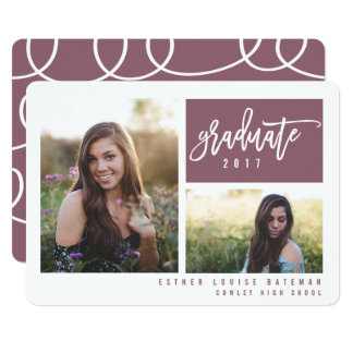 GRADUATION TWIN PHOTO-PLUM (CLIPPED IMAGES) CARD