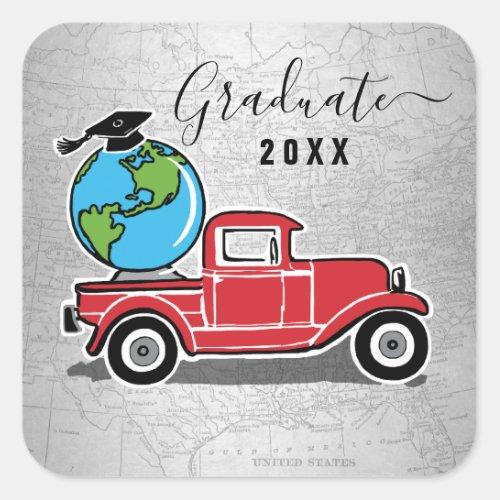 Graduation Vintage Truck Grad Cap World Glove Square Sticker