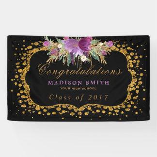 Graduation Watercolor Glitter Flower Gold Confetti Banner