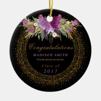 Graduation Watercolor Glitter Flower Gold Confetti Ceramic Ornament
