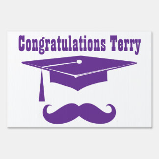 Graduation With Cap And Mustache - purple Yard Signs