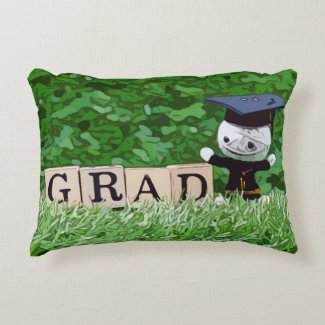 Graduation with gown and hobo hat congratulations  accent pillow