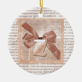 Graduation Words, Big Bow with Diploma, Peach Ceramic Ornament