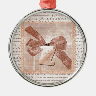 Graduation Words, Big Bow with Diploma, Peach Metal Ornament