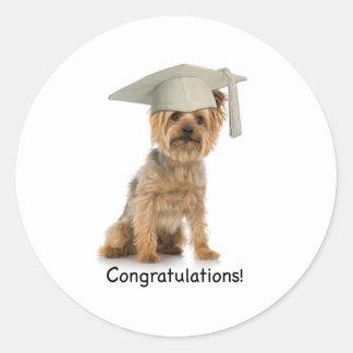 Graduation Yorkie Congratulations Classic Round Sticker