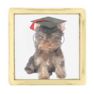 Graduation Yorkshire Terrier Gold Finish Lapel Pin